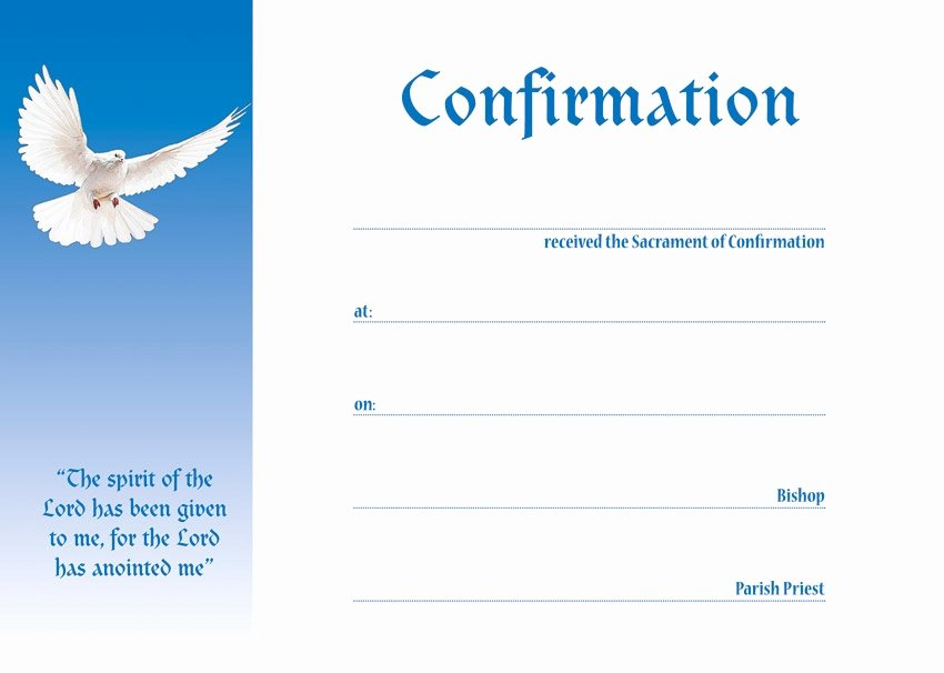 Confirmation Certificate Template Catholic Unique Confirmation Presentation Certificate Blue Pack Of 25