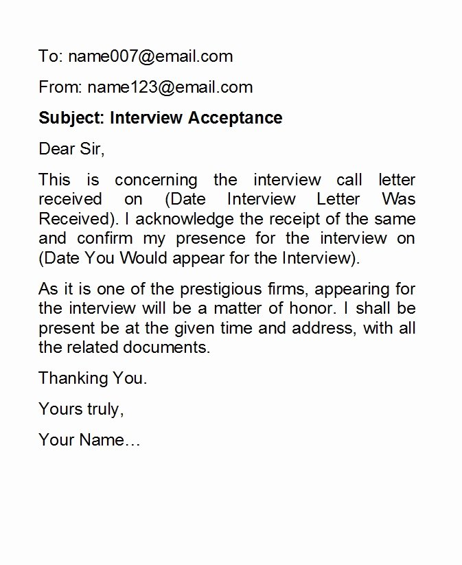 Confirming Interview Email Sample Inspirational 38 Professional Interview Acceptance Emails Smart Tips