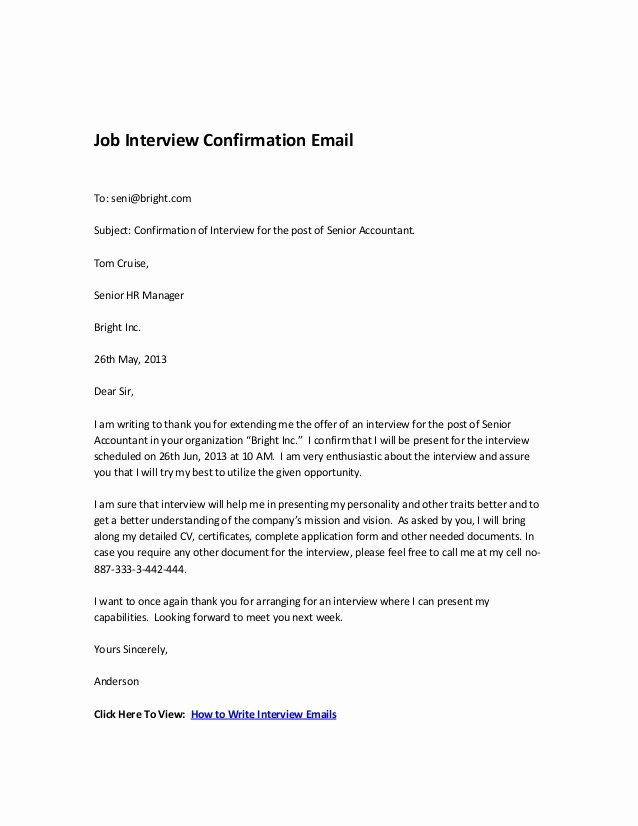 Confirming Interview Email Sample Lovely Job Interview Confirmation Email