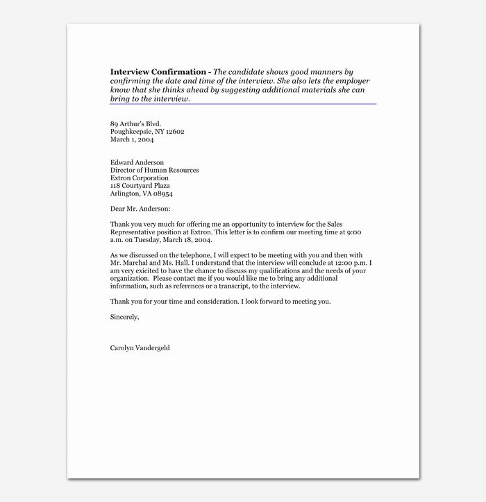Confirming Interview Email Sample Unique Interview Appointment Letter 15 Samples & formats