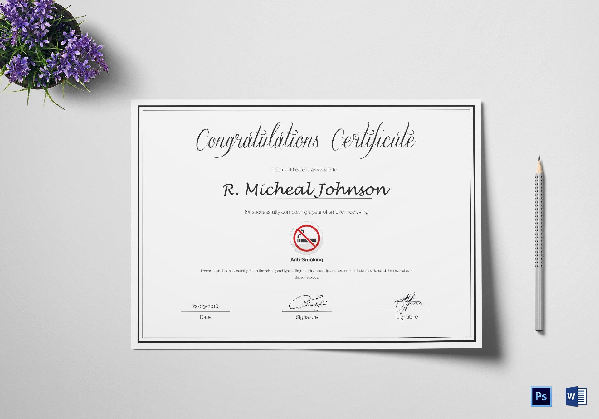 Congratulation Certificate Template Word Best Of Certificate Of Congratulations for Quitting Smoking Design