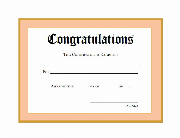 Congratulation Certificate Template Word Best Of Sample Thank You Certificate Template 10 Documents
