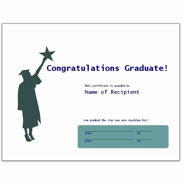 Congratulation Certificate Template Word Elegant Congratulatory Graduation Certificates Free Downloads for