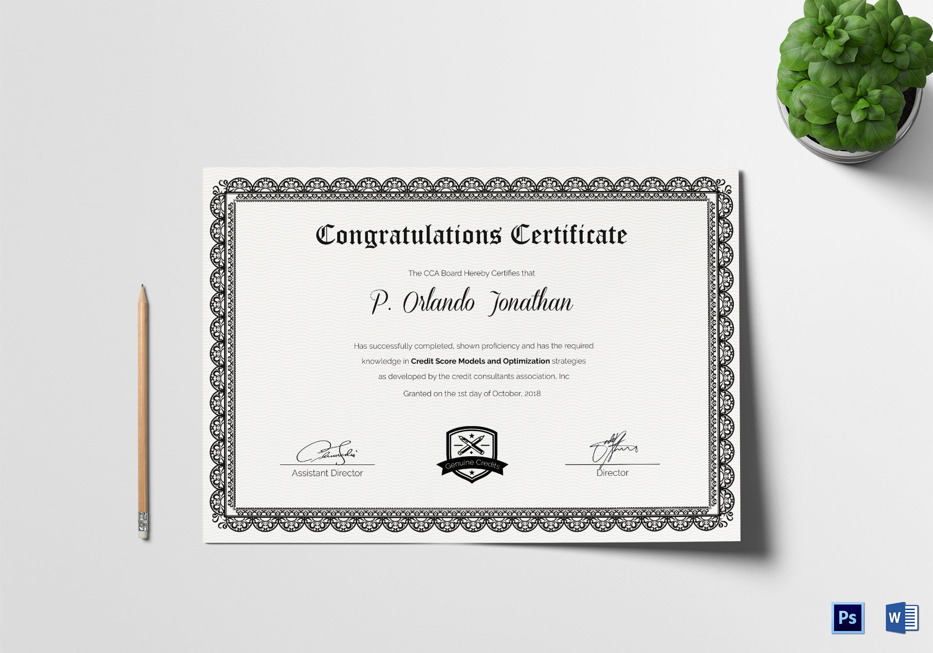 Congratulation Certificate Template Word Inspirational Congratulations Certificate Design Template In Psd Word