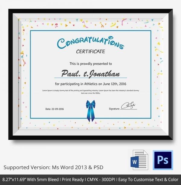 Congratulation Certificate Template Word Inspirational Congratulations Certificate Template 10 Word Psd