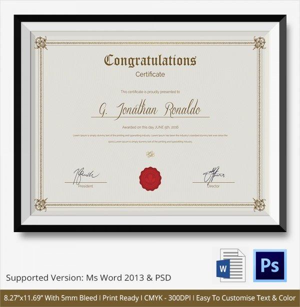 Congratulation Certificate Template Word Lovely Free 20 Sample Congratulations Certificate In Pdf