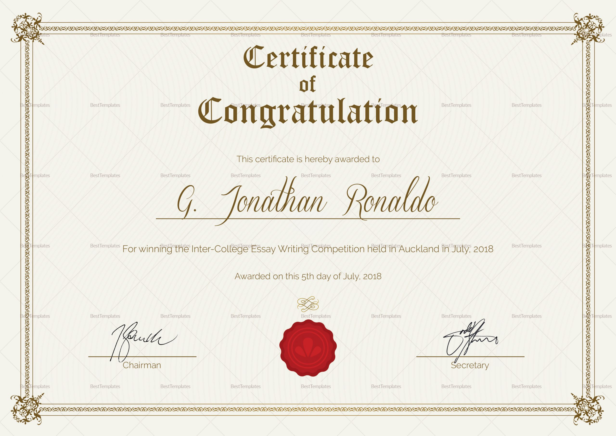 Congratulation Certificate Template Word New General format Congratulations Certificate Design Template