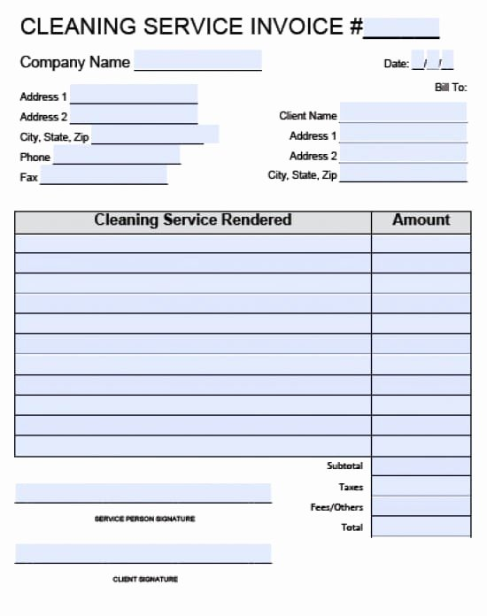 Congress Bill format Lovely Free Sample Cleaning Invoices