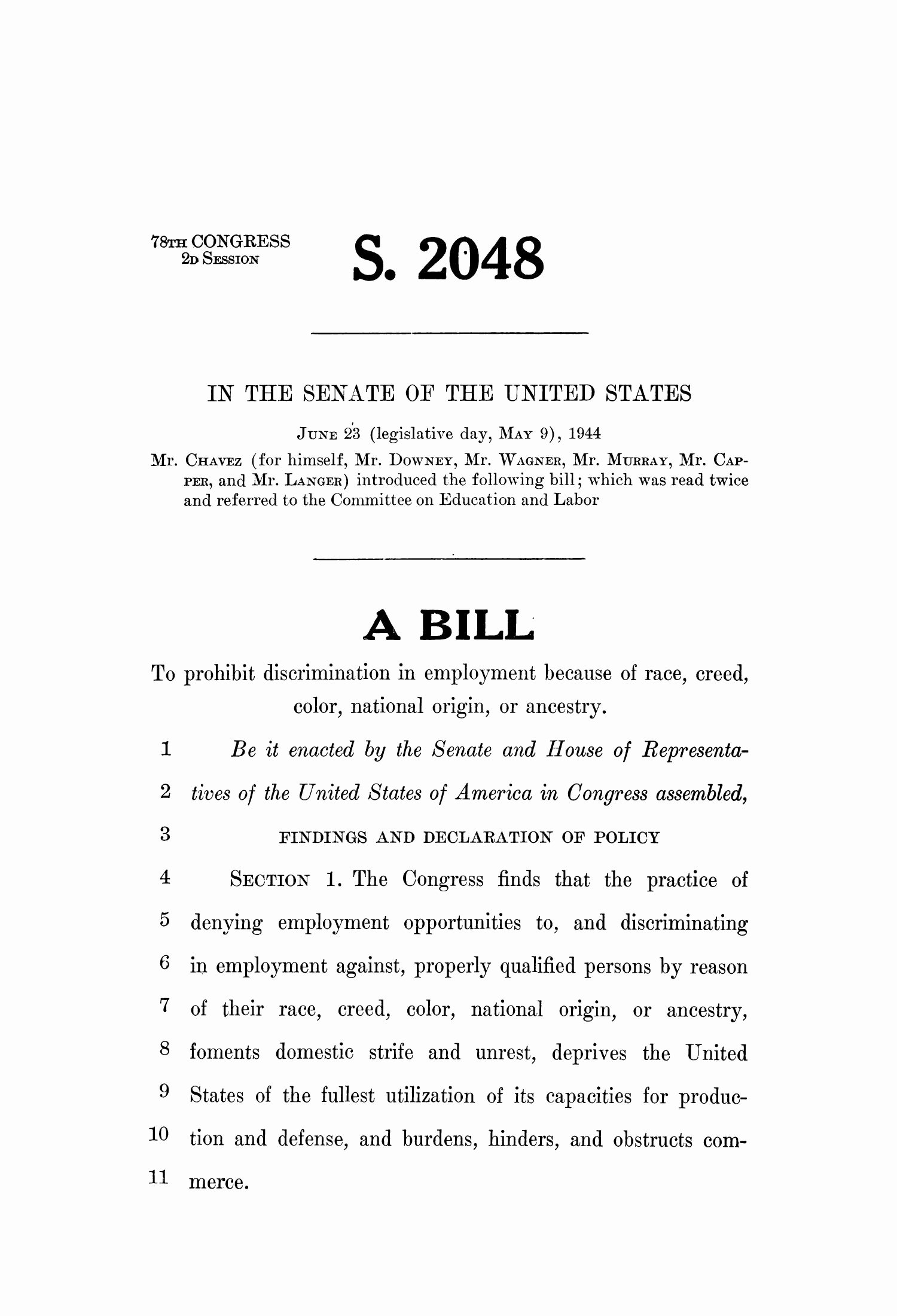 Congress Bill format Luxury 78th U S Congress Second Session Senate Bill 2048 the