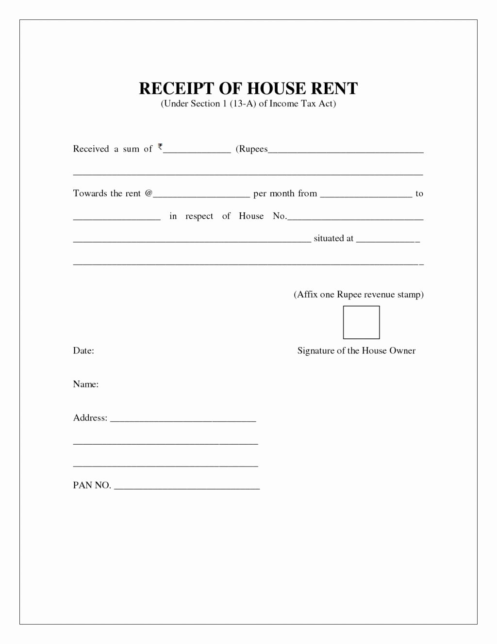 Congress Bill format New Rent Receipt format