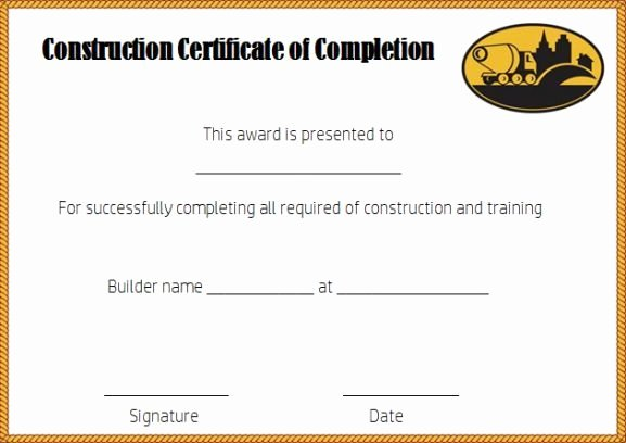 Construction Certificate Of Completion Template Beautiful Construction Certificate Of Pletion Template Free