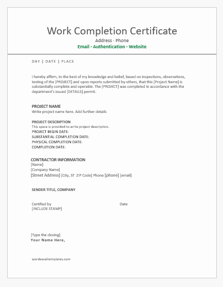 Construction Certificate Of Completion Template Inspirational 9 Best Work Pletion Certificates for Ms Word