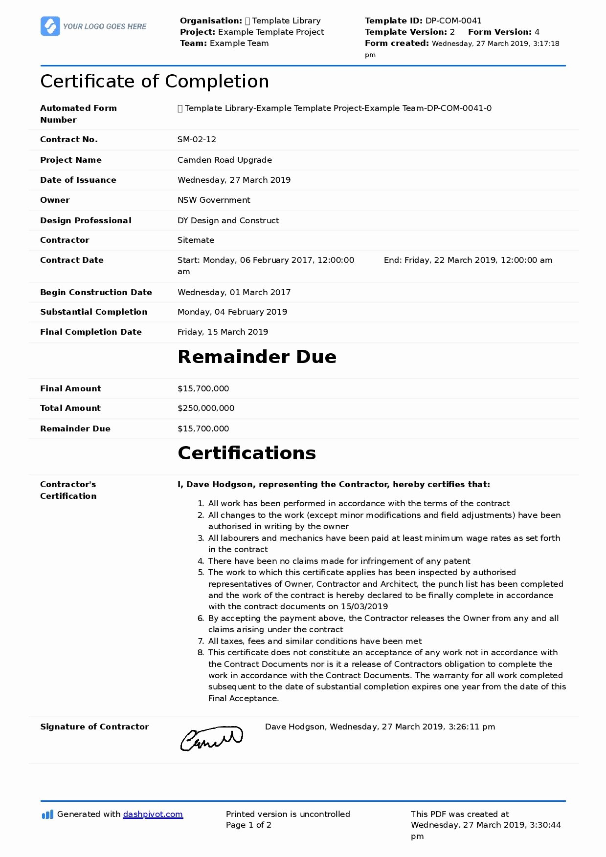 Construction Certificate Of Completion Template Inspirational Certificate Of Pletion for Construction Free Template