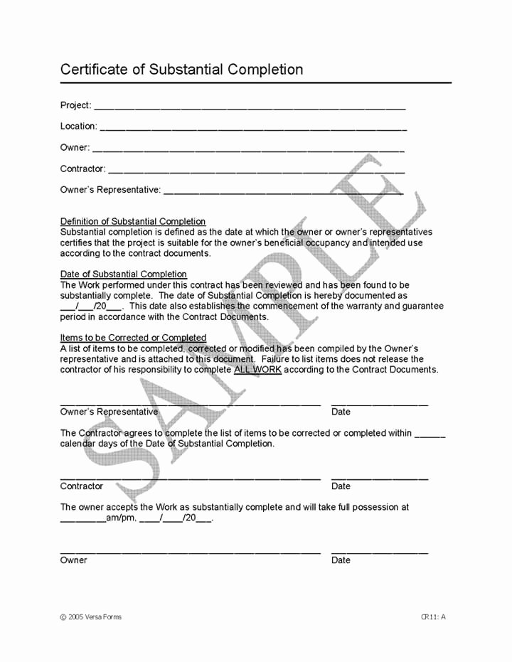 Construction Certificate Of Completion Template Luxury Letter Substantial Pletion Free Printable Documents