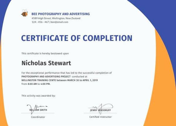 Construction Certificate Of Completion Template New Certificate Of Pletion 25 Free Word Pdf Psd