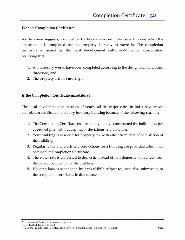 Construction Certificate Of Completion Template Unique What is Pletion Certificate and How to Obtain It