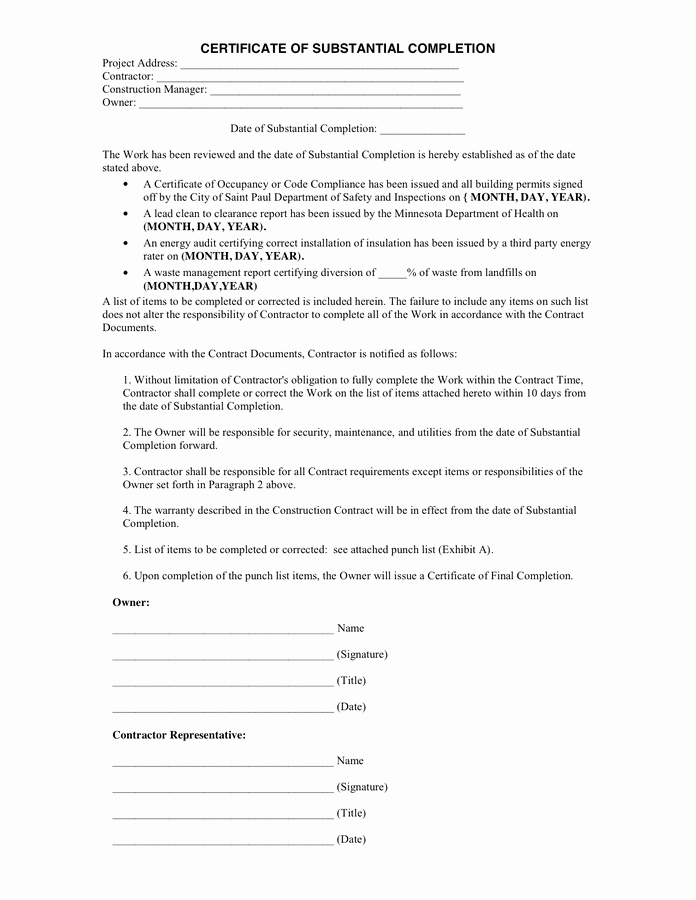 Construction Completion Certificate Template New Certificate Of Substantial Pletion In Word and Pdf formats
