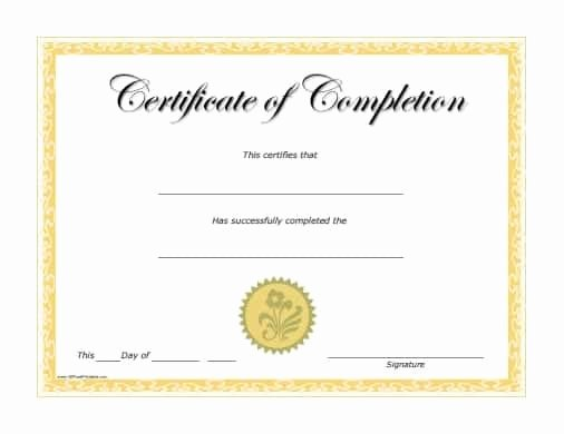 Construction Completion Certificate Template Unique 10 Certificate Of Pletion Templates Word Excel Pdf