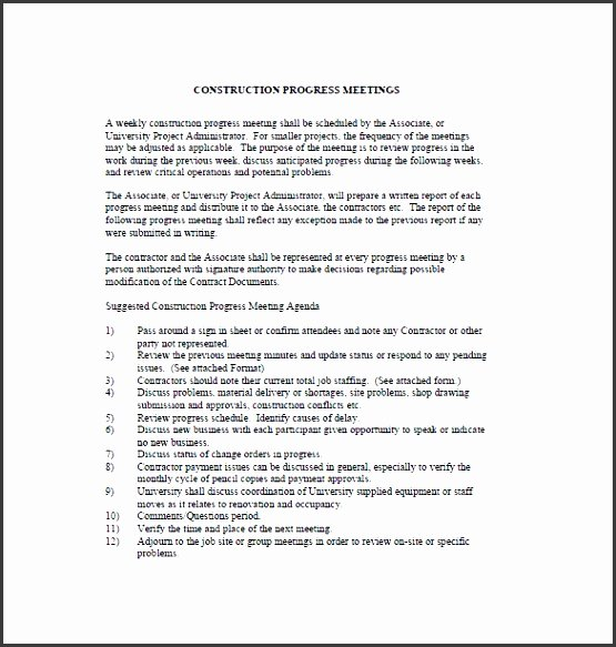 Construction Project Meeting Minutes Template Awesome 11 Construction Project Outline Template