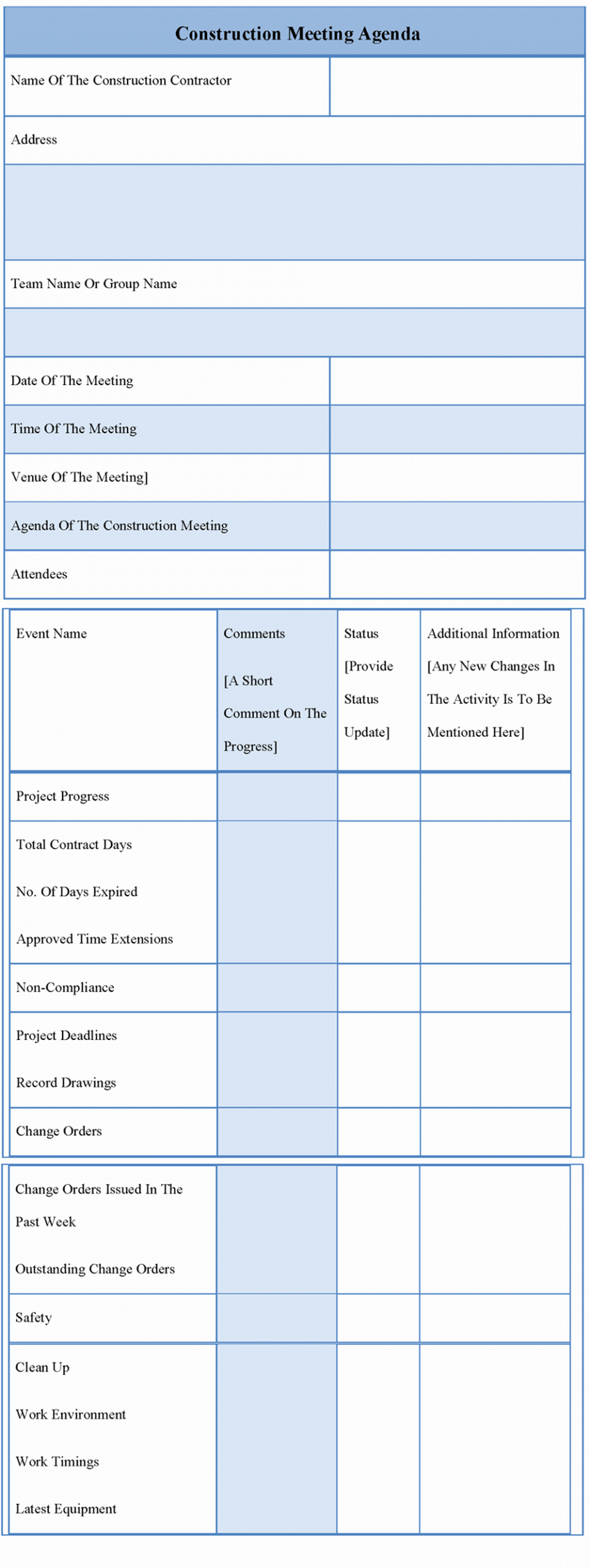 Construction Project Meeting Minutes Template Beautiful Agenda Template for Construction Meeting Example Of