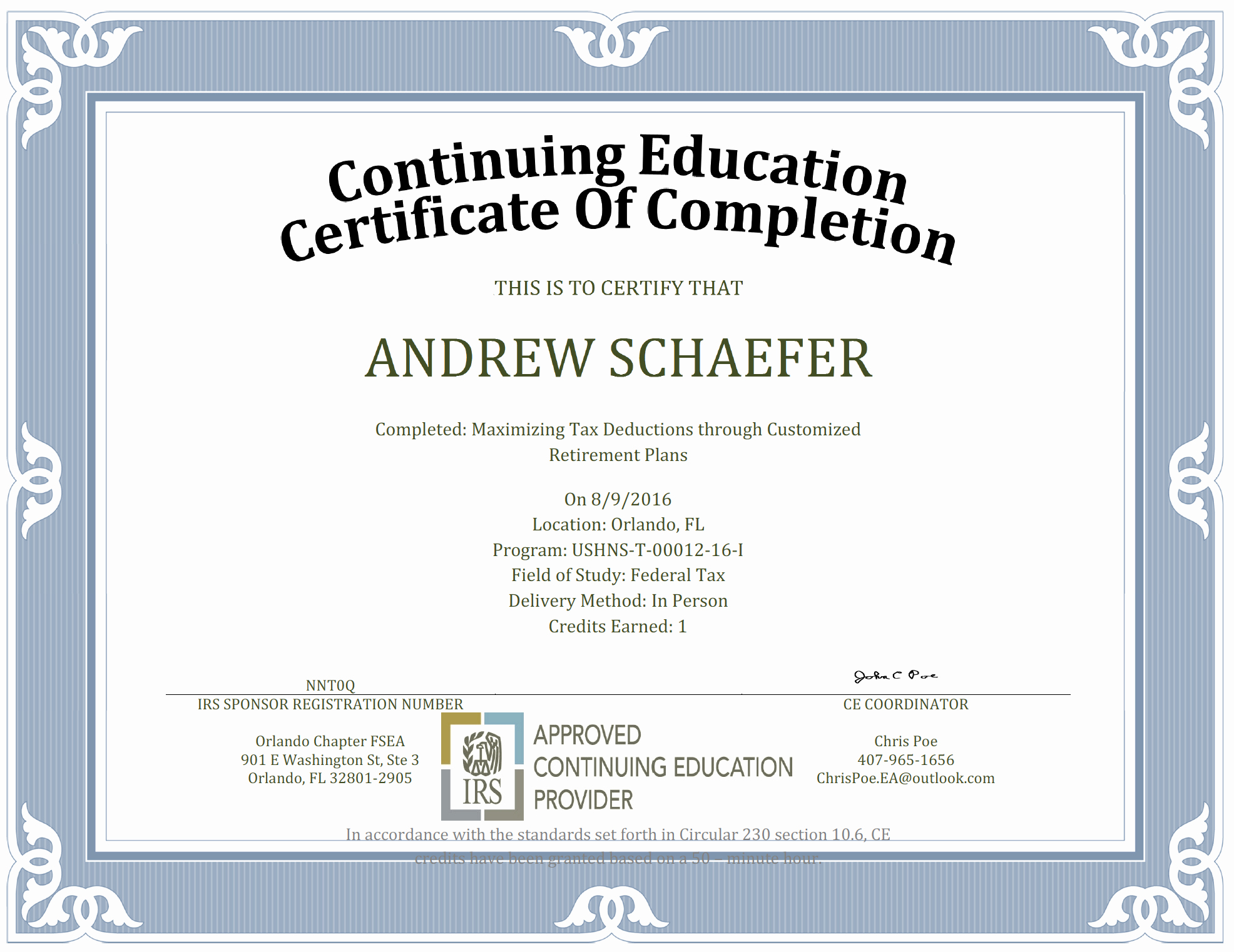 Continuing Education Certificate Template Best Of Continuing Education – orlando Chapter Fsea
