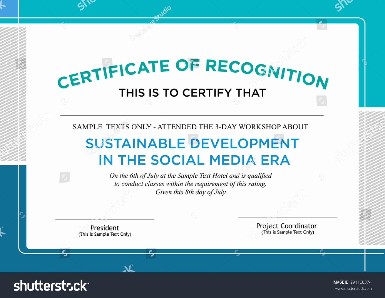 Continuing Education Certificate Template New Certificate Recognition formal Style Design Editable Stock