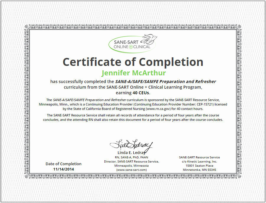 Continuing Education Certificate Template Unique Sane Sart Line Clinical Earn Continuing Education Units