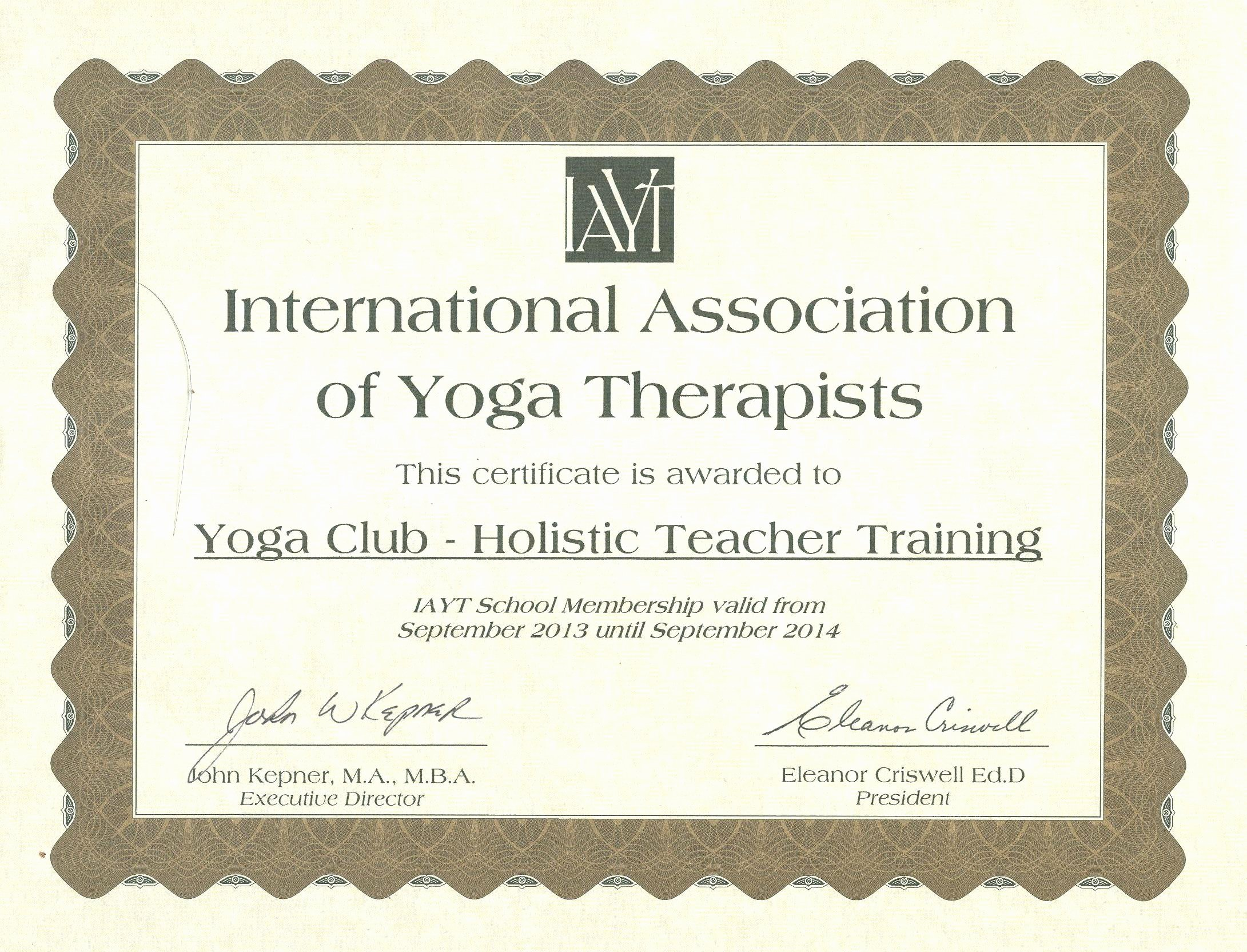 Continuing Education Certificate Template Unique therapeutic Yoga Certification with Yoga Club Rys Member