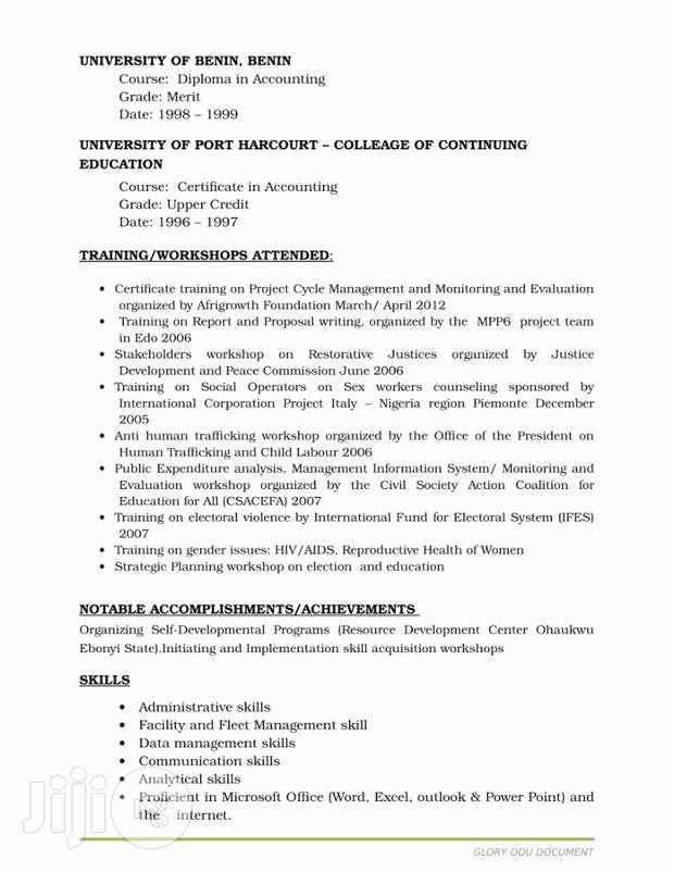 Continuing Education Credit Certificate Template Best Of Administrative Cv Resume From Glory Odu In Abuja Cv for
