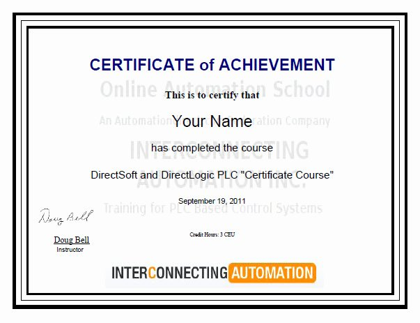 "Continuing Education Credit Certificate Template Elegant Summary Of Directsoft and Directlogic Plc ""certificate Course"""