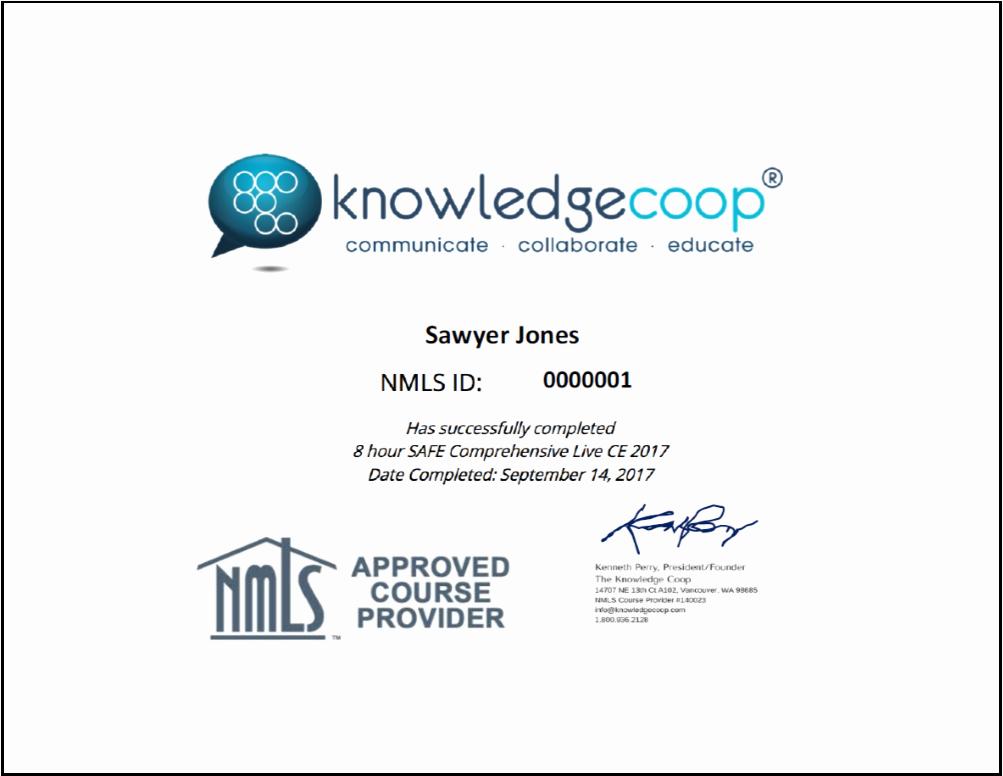 Continuing Education Credit Certificate Template Elegant Training Certificate for Loan Ficers Simplecert