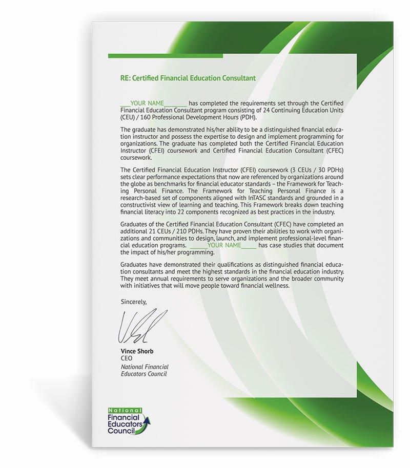 Continuing Education Credit Certificate Template Fresh Nfec Cfec Program Open Enrollment Information