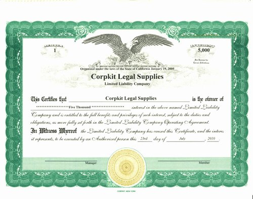 Corpkit Stock Certificate Template Best Of Stock Certificate for Limited Liability Pany Interest