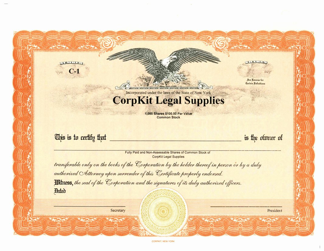 Corpkit Stock Certificate Template Elegant Eagle Non Reflecting Pdf Template
