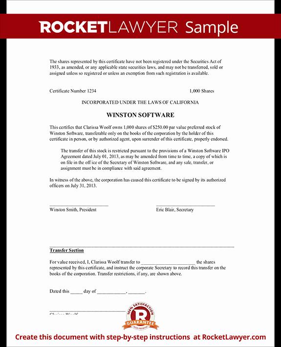 Corpkit Stock Certificate Template Elegant Stock Certificate Template Free Blank Stock Certificate