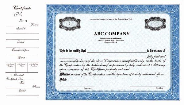 Corpkit Stock Certificate Template Unique Stock Certificates Custom Stock Certificates Custom