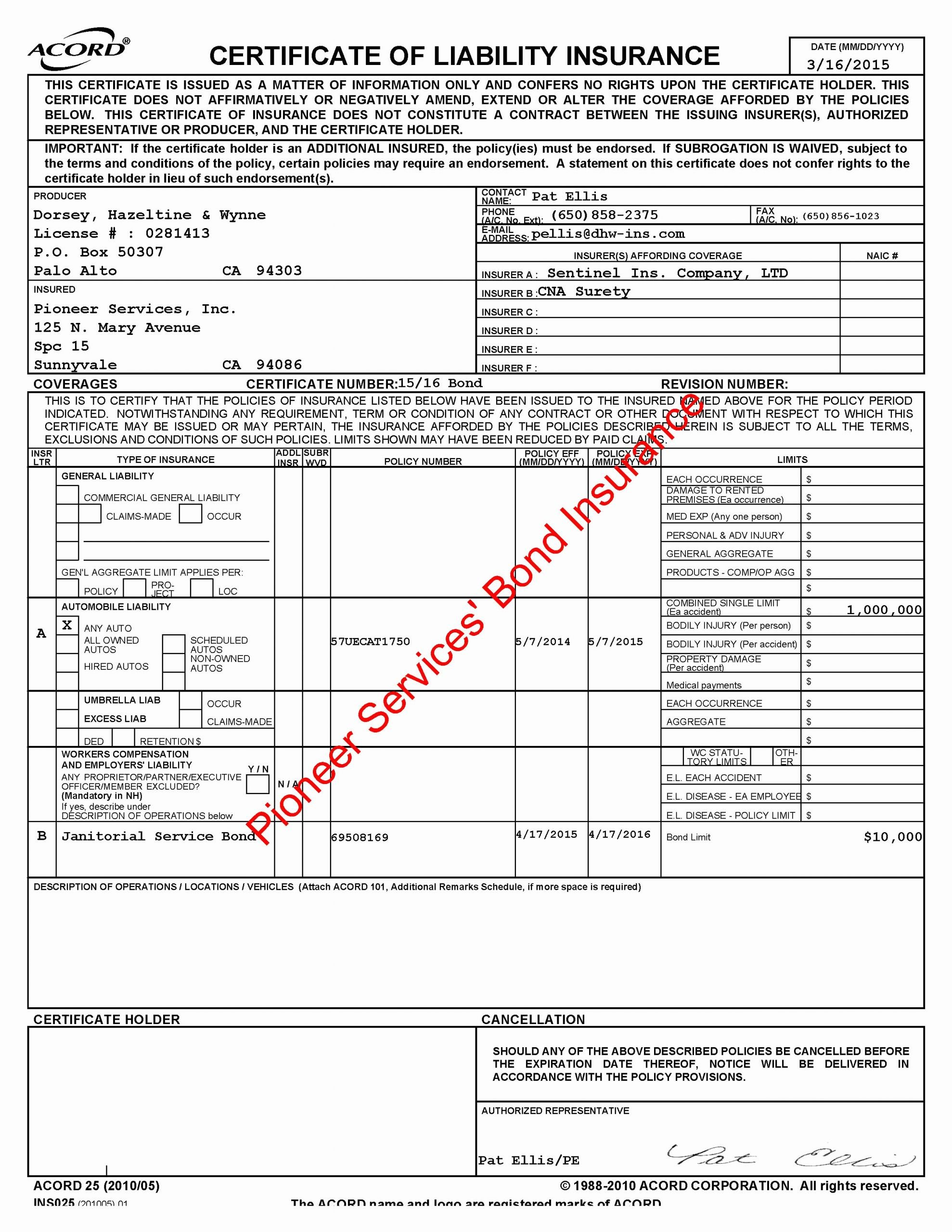 Corporate Bond Certificate Template Best Of Accord form 25 Acord form 6 Acord forms Free Premium