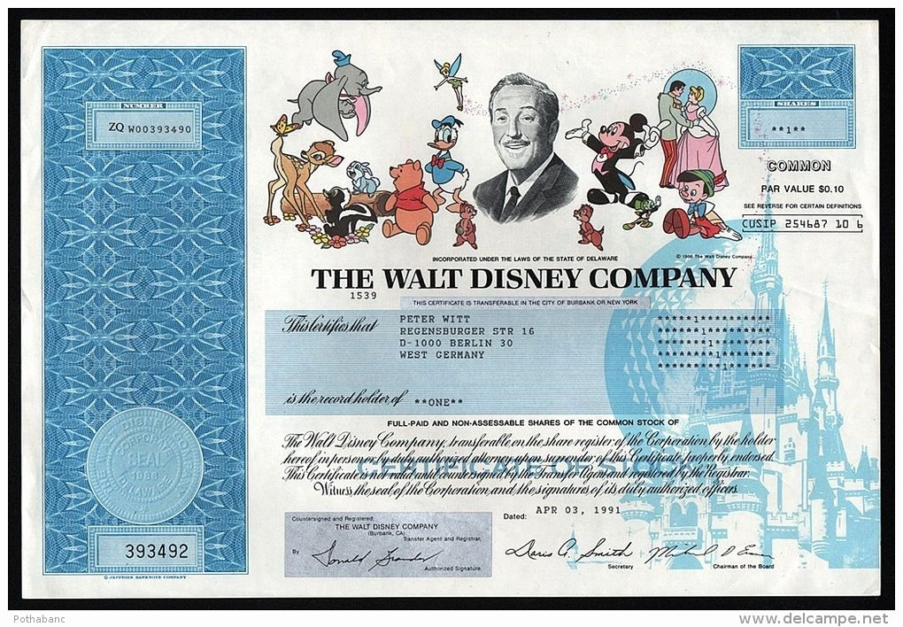 Corporate Bond Certificate Template Luxury the Walt Disney Pany Authentic Stock Certificate 1991