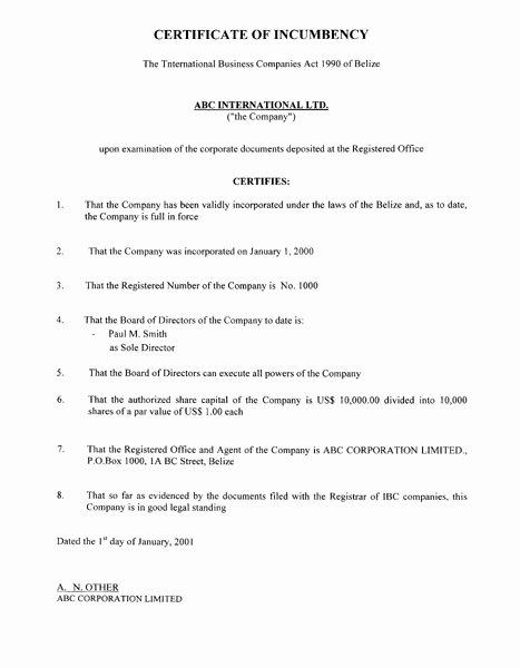 Corporate Secretary Certificate Template Beautiful Free Printable Certificate Incumbency form Generic