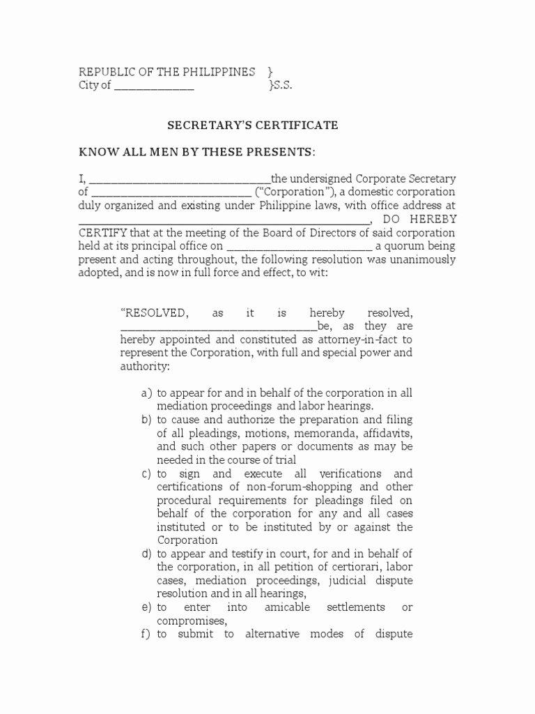 Corporate Secretary Certificate Template Best Of Download Sample Secretary Certificate for Bank Opening