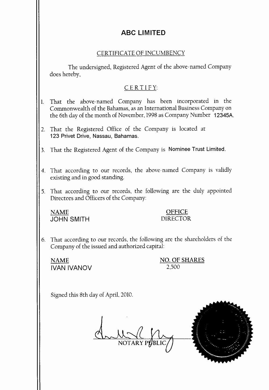 Corporate Secretary Certificate Template Elegant Incumbency Certificate Vs Secretary Certificate
