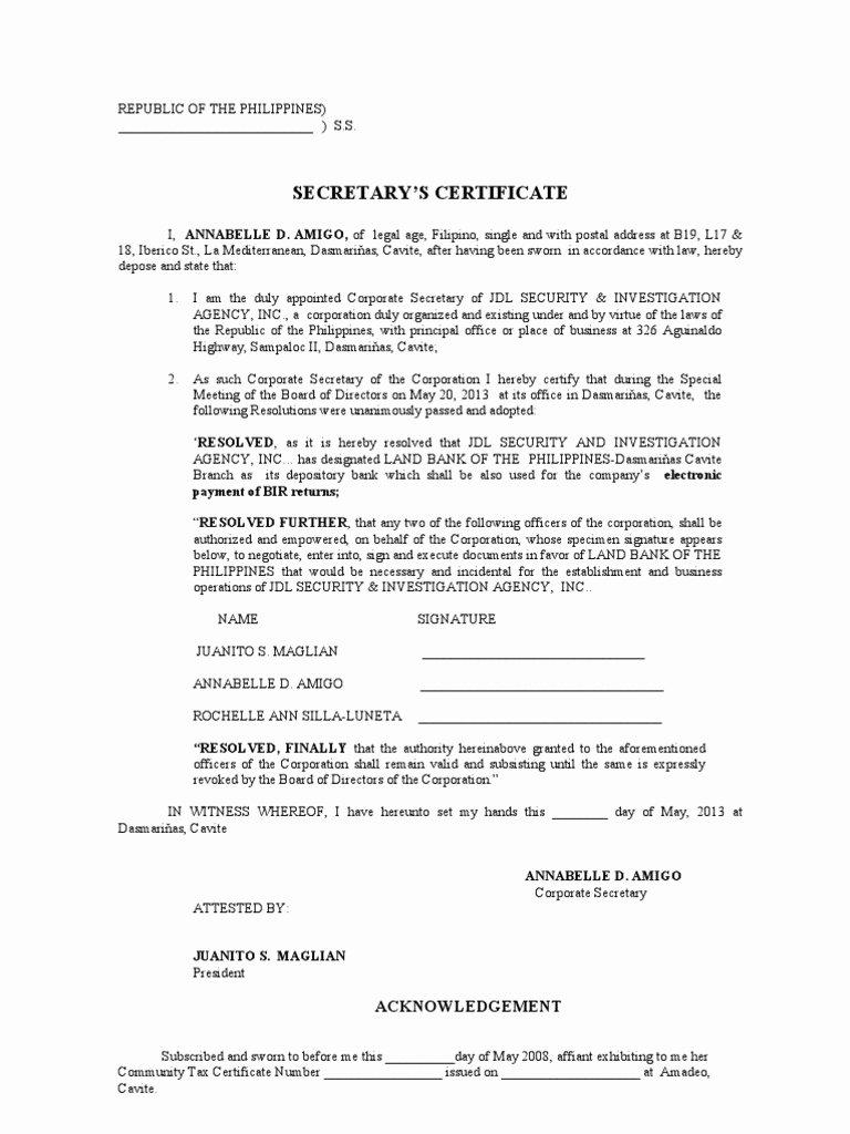 Corporate Secretary Certificate Template Fresh Secretary S Certificate Opening Acct Efps Virtue