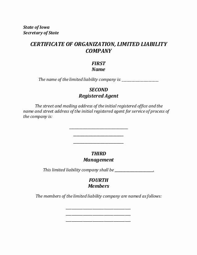 Corporate Secretary Certificate Template Inspirational Iowa Llc formation Document