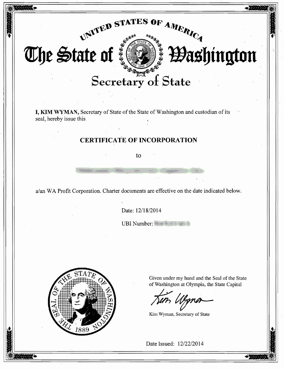 Corporate Secretary Certificate Template Inspirational Washington Incorporation & Registered Agent