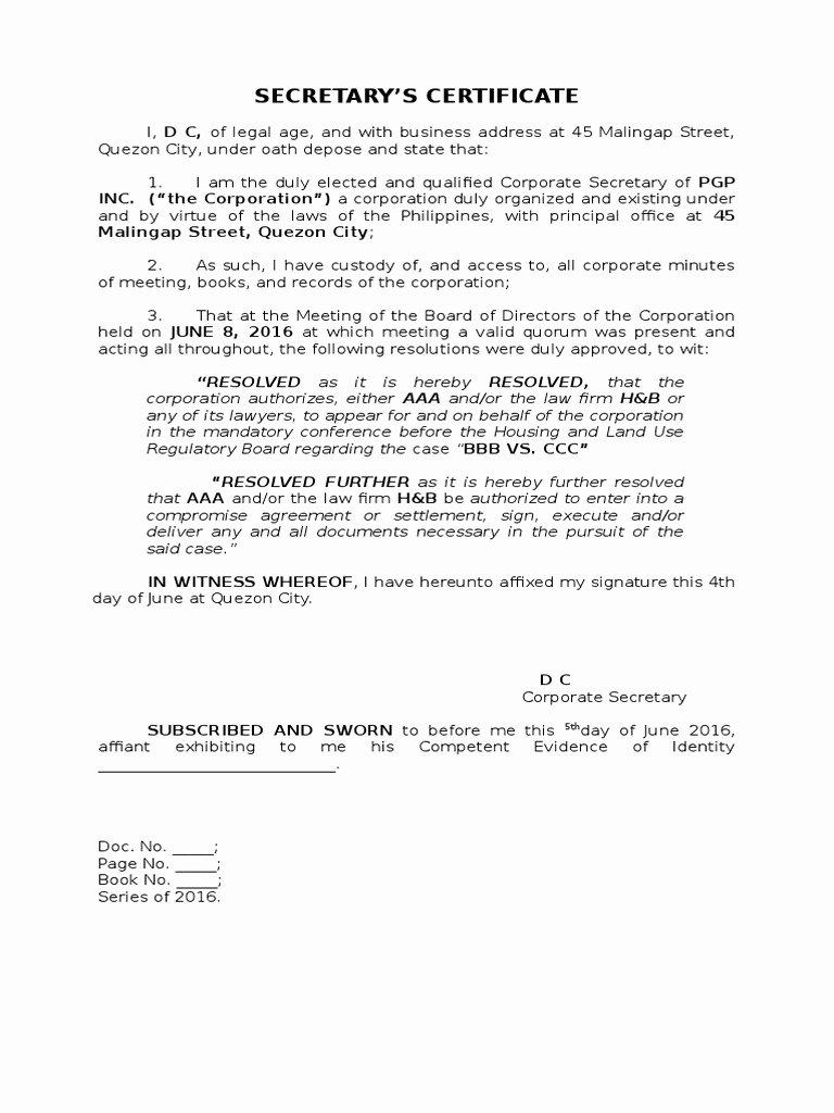 Corporate Secretary Certificate Template Unique Download Sample Secretary Certificate for Bank Opening