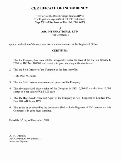 Corporate Secretary Certificate Template Unique Free Printable Certificate Incumbency form Generic