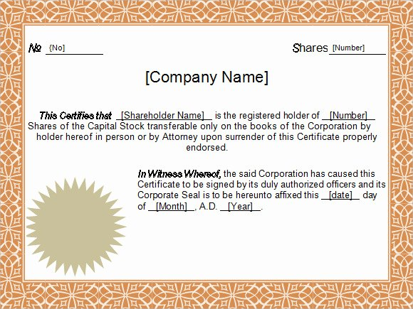 Corporate Stock Certificate Template Word Lovely Free 6 Sample Stock Certificate Templates In Google Docs