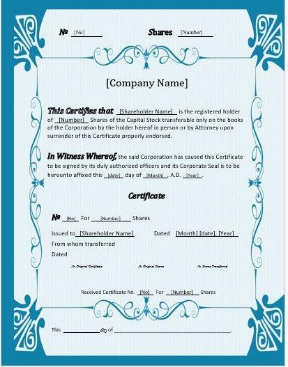Corporate Stock Certificate Template Word Luxury Stock Certificates 2018 Templates for Ms Word