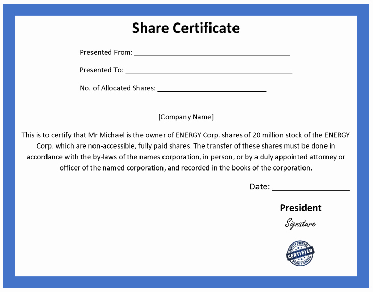 Corporate Stock Certificate Template Word New ordinary Certificate Template
