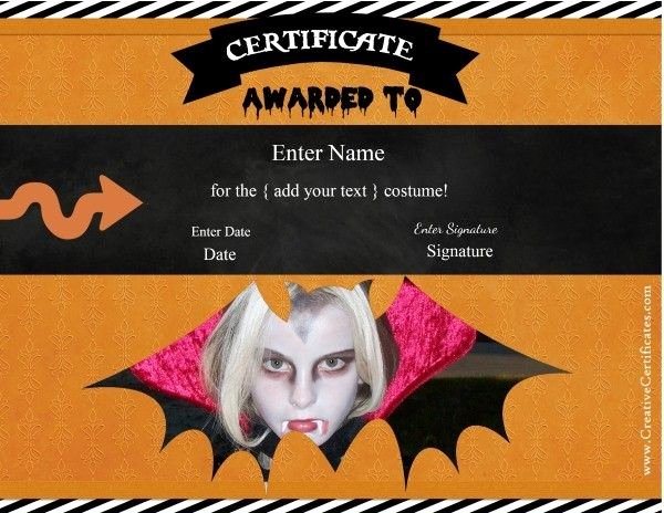 Costume Contest Certificate Template Awesome 42 Best Halloween Images On Pinterest